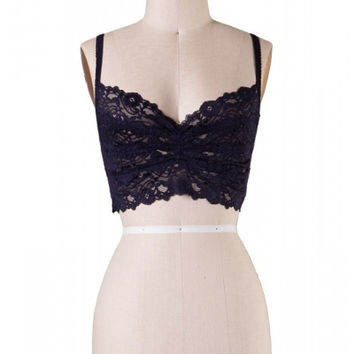 Wide Band Lace Bralette - Navy Blue