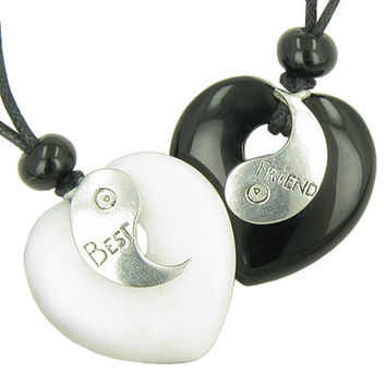 Lucky Best Friends Ying Yang White Snowflake Quartz Black Agate Hearts Gems Pendant Necklaces