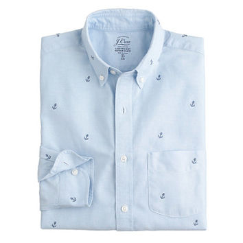 J.Crew Mens Slim Lightweight Vintage Oxford Cloth Shirt With Embroidered Anchors