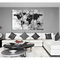 Large Triptych Art Grayscale World Map Canvas Print, Large World Map Wall Art, World Map on Old Wall Canvas Print, Retro World Map Wall Art