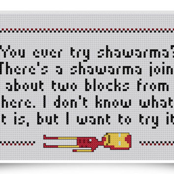 Iron Man Cross Stitch Pattern - 8-bit Shawarma Quote