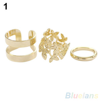 NEW 3Pcs Midi Finger Ring Set Silver Gold Stack Above Knuckle Band Rings 2 Colors 7GB5 95JZ