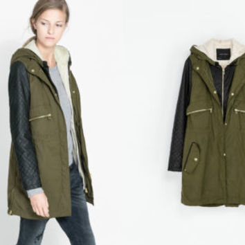 ZARA Parka Jacket/Coat with Faux Leather Sleeves Sizes: XL EXTRA LARGE
