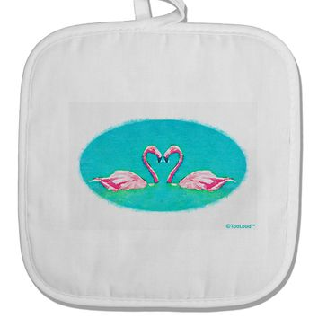 Love Birds - Flamingos Watercolor White Fabric Pot Holder Hot Pad