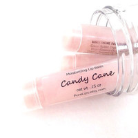 Candy Cane Lip Balm - Sweet Mint - Vegan or Beeswax