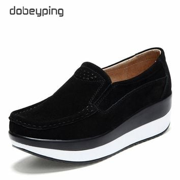 2018 New Spring Autumn Shoes Woman Platform Women Shoes Cow Suede Leather Flats Thick Sole Women's Loafers Moccasins Female Shoe