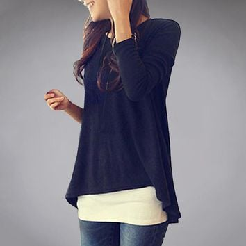 Korea Style Tshirts Cotton Women Basic Long Sleeve T Shirt Asymmetric Swing Bottom Tops For Wholesale Retail D420