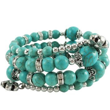 Memory Wire Wrap Bangle Turquoise/Silver