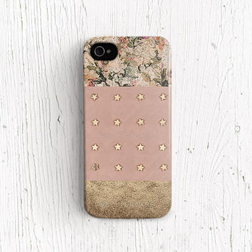 illustration iPhone 4 case gold Star iPhone 4s case vintage floral iPhone 5 case pink iPhone 5c case star stud PRINT iPhone 5s case c327