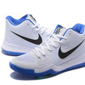 DCCKD9A Nike Kyrie Irving 3 White/Blue Basketball Shoe