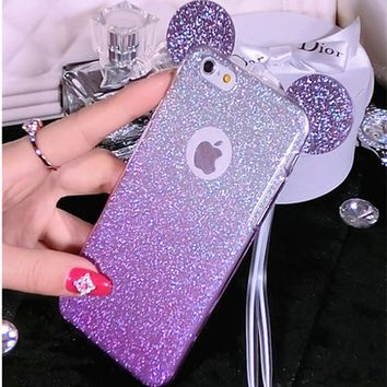 Glitter Minnie Mickey Mouse Ears Soft TPU Case For Samsung Galaxy S6 S7edge S5 J5 A5 S9 S8Plus Case For iPhone 6 6S 7 8 Plus X 5