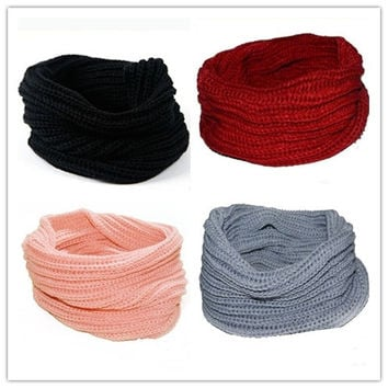 New Womens Mens Winter Warm Infinity 1 Circle Cable Knit Cowl Neck Scarf Shawl = 1946397764