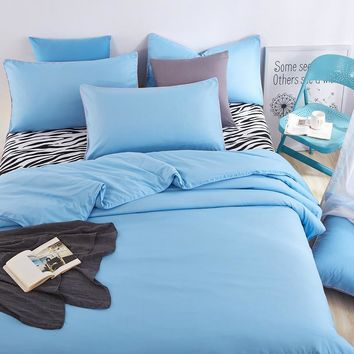 Cool 2016 Bedding Sets Shallow Sea Blue Zebra Bed Sheet and Duver Quilt Cover Pillowcase Soft and Comfortable King Queen Full TwinAT_93_12