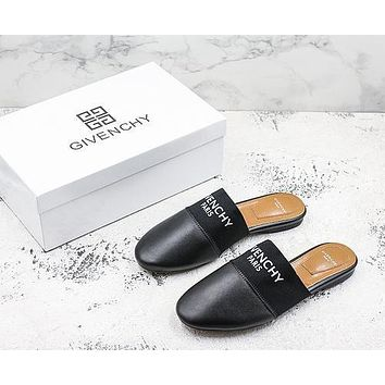 Givenchy Paris Leather Mules Black Flat Slide Slippers
