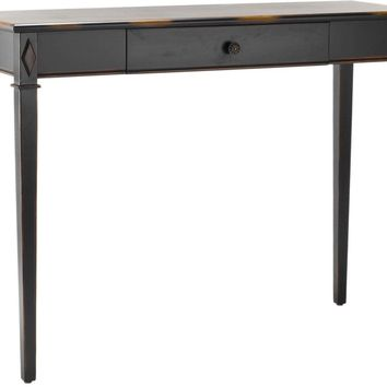 Lindy Console Table With Storage Drawer Lightly Distressed Dark Brown