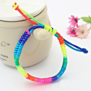 Rainbow Handmade string Bracelets Rope Friendship Night club Favorite Woven Bracelet For Women Men