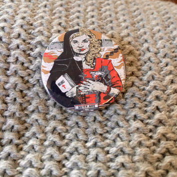 AMERICAN HORROR STORY Asylum Sister Jude Button Pin Jessica Lange Artwork Scary Television Memorabilia Collectible