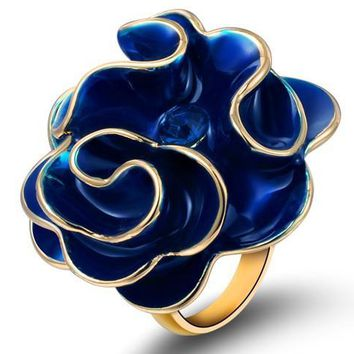 Blue Enamel & Austria Crystal Ring Big Flower Ring Brand Design Jewelry Girlfriend Women Accessories Love Jewelry Party Gifts
