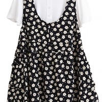 White Tee Floral Print Sleeveless Dress Two Sets - OASAP.com
