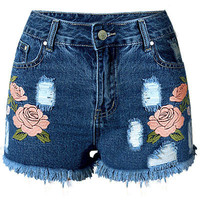 Rose Embroidered Dark Blue Shorts LAVELIQ