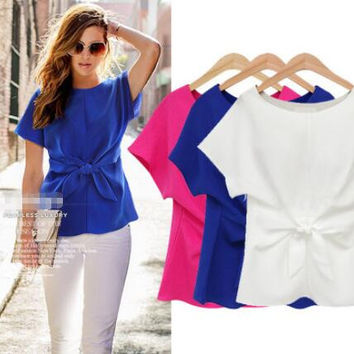 Womens Summer Bow Top Blouse Chiffon T-shirts +Necklace