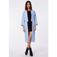 Missguided - Anais Crepe Duster Coat Powder Blue