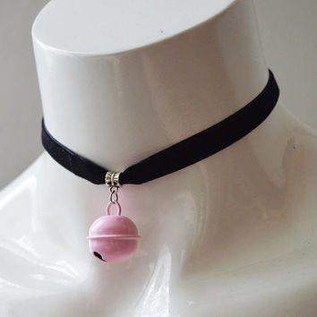 Kitten play day choker - velvet ribbon - with pastel pink bell - kittenplay ddlg cute necklace for everyday wearing