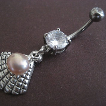 Oyster Belly Button Ring Pearl Seashell Nautical Beach Sea Shell Charm Dangly Navel Piercing Jewelry