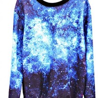 NEBULA CREWNECK SWEATER-BLUE