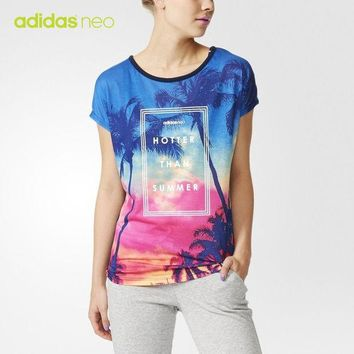 DCCKXT7 Adidas Neo' Women Casual Gradient Color Coconut Trees Print Short Sleeve T-shirt Tops
