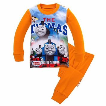 Lovely Spring Pure Cotton Thomas And Friends Children Clothing Long Sleeve Tops+Pants for 2-7 Years Boy Kids Pajamas Sleepwear