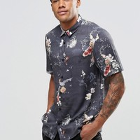 River Island Shirt In Navy With Fish Print In Regular Fit