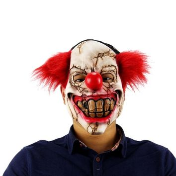 Halloween Mask Scary Clown Latex Full Face Mask Big Mouth Red Hair Nose Cosplay Horror masquerade mask Ghost Party TQ