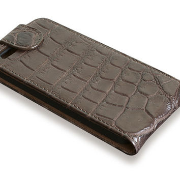 iPhone 5S flip case - brown alligator