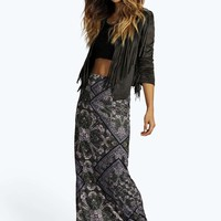 Keira Paisley Side Split Maxi Skirt