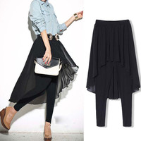 Patchwork Chiffon Dress Pants Slim Leggings [9108917703]