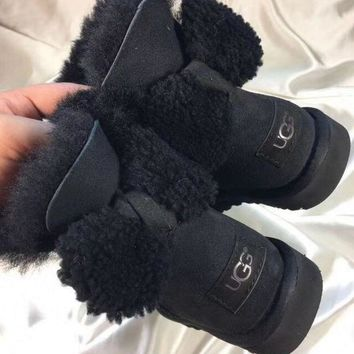 UGG Fashion Winter Women Bowknot Flat Warm Snow Ankle Boots Black G