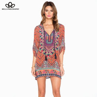 2015 summer fall new vintage ethnic retro rope V neck paisley print wine red women causal dress