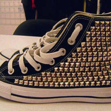 CREYONB Fully Studded High Top Converses
