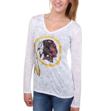 Washington Redskins Women's Sublime Burnout V-Neck Long Sleeve T-Shirt – White