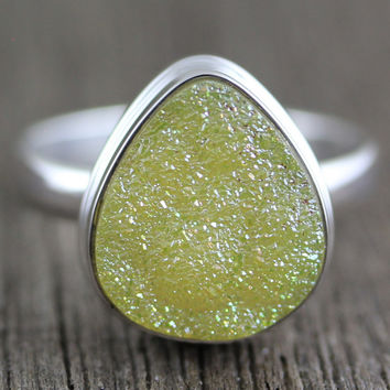 Titanium Druzy Agate in Sterling Silver Size 9 Ring (D005)
