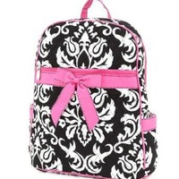 Belvah Large Quilted Damask Print Backpack - Choice of Colors (Black/White/Pink)