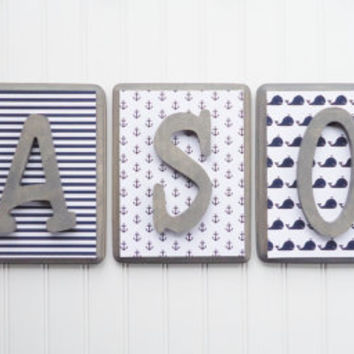 Nautical Nursery, Baby Names, Nursery Name Blocks, Nursery Decor, Wooden Wall Hanging Plaques, Nautical Patterns, Nursery Wall Letters, 7x9