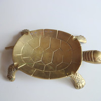 Vintage Brass Turtle Ashtray 1970s