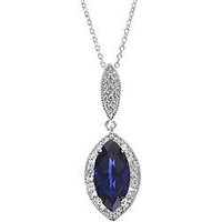 Sterling Silver Created Sapphire 1/10ct TDW Diamond Necklace | Overstock.com