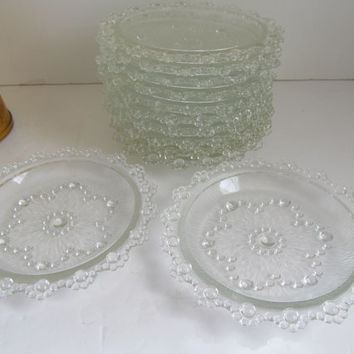 Bubbles Set of 12 Plates Crystal Wedding Desert Dishes Fine Dining Hobnail Glass Candlewick Crystal Glassware Plates Clear Luncheon Plates