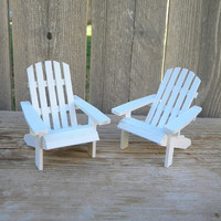Set of 2 authentic pattern Adirondack chairs dollhouse miniature in white