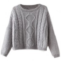 Cute Solid Cropped Cable Knit Sweater - OASAP.com