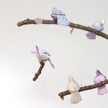 Modern Bird Mobile - Baby Nursery Decor - fabric sculpture on yarn wrapped branches in lavender, silver gray, purple and cream