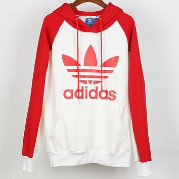 ADIDAS Clover classic logo raglan sleeve stitching color plus velvet hoodie sweater Red